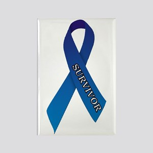 Blue Ribbon 'Survivor' Rectangle Magnet