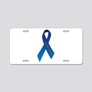 Blue Ribbon 'Survivor' Aluminum License Plate