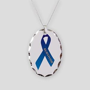 Blue Ribbon 'Survivor' Necklace Oval Charm