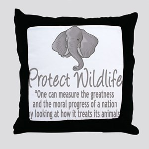 Protect Elephants Throw Pillow