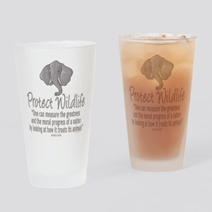 Protect Elephants Drinking Glass