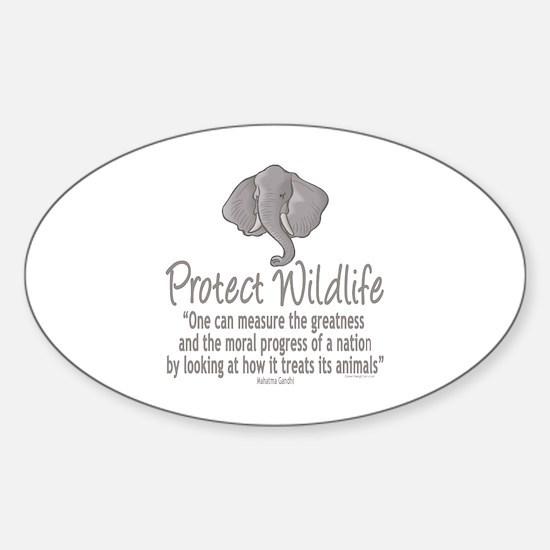 Protect Elephants Sticker (Oval)