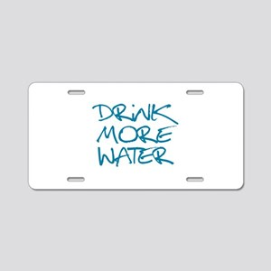 Drink More Water_Blue1 Aluminum License Plate