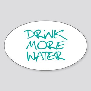 Drink More Water_Blue2 Sticker (Oval)