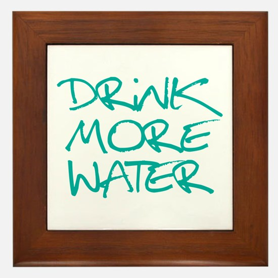 Drink More Water_Blue2 Framed Tile