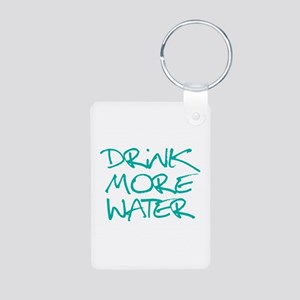 Drink More Water_Blue2 Aluminum Photo Keychain
