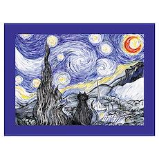 Van Gogh Kitty Starry Night Art Print Poster