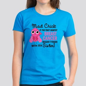 Mad Chick 2 Breast Cancer Women's Dark T-Shirt