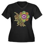 Snake bonji Women's Plus Size V-Neck Dark T-Shirt