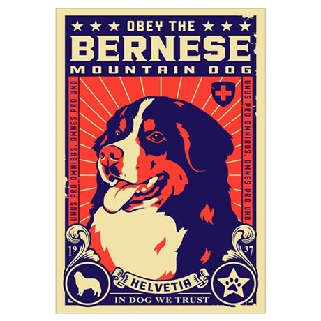 Obey The Bernese Mountain Dog! Poster  Pet Poster