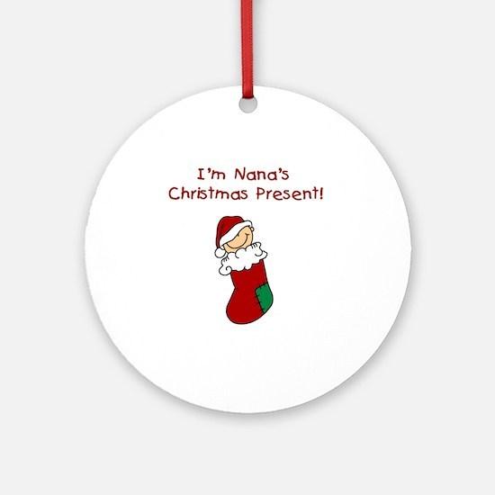 Nana's Christmas Present Ornament (Round)