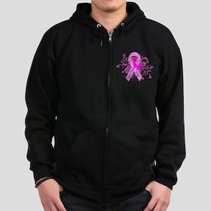 Vintage Pink Ribbon Zip Hoodie (dark)