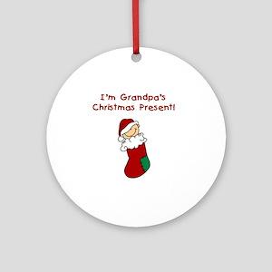 Grandpa's Christmas Present Ornament (Round)