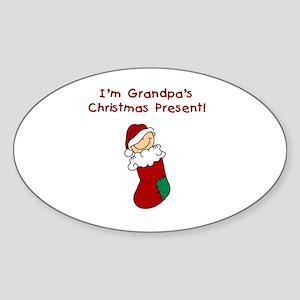 Grandpa's Christmas Present Sticker (Oval)