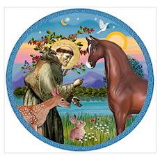 St Francis/Horse (Ar-Brn) Poster