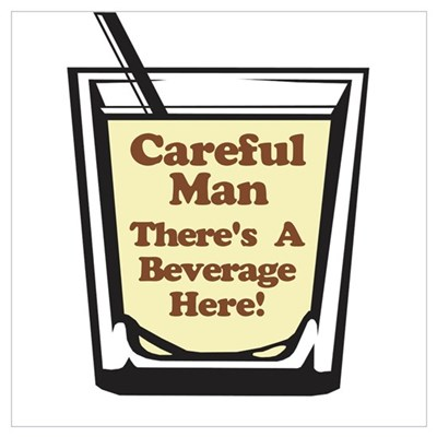 Careful Beverage Here Dude Framed Print