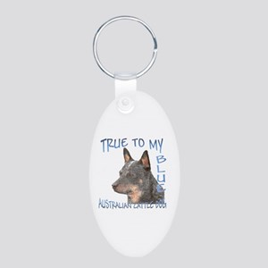 True To My Blue Aluminum Oval Keychain
