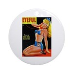 Eyeful Blonde Beauty Pin Up in Blue Ornament (Roun