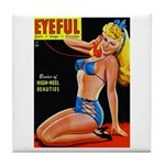 Eyeful Blonde Beauty Pin Up in Blue Tile Coaster