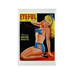 Eyeful Blonde Beauty Pin Up in Blue Rectangle Magn
