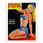 Eyeful Blonde Beauty Pin Up in Blue Small Poster