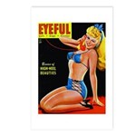 Eyeful Blonde Beauty Pin Up in Blue Postcards (Pac