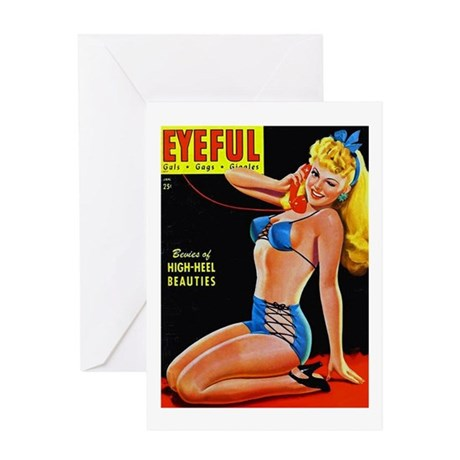 Eyeful Blonde Beauty Pin Up in Blue Greeting Card