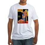 Eyeful Blonde Beauty Pin Up in Blue Fitted T-Shirt