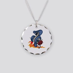 Snake, Rose, and Fire. Necklace Circle Charm