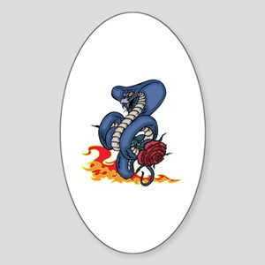 Snake, Rose, and Fire. Sticker (Oval)