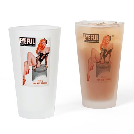 Eyeful Sitting Redhead Beauty Pin Up Drinking Glas