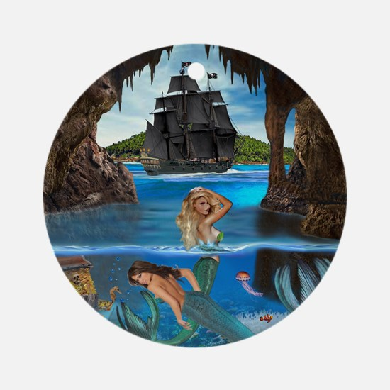 Mermaids of the Pirate Cave Round Ornament