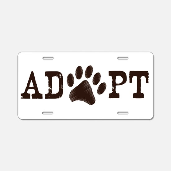Adopt an Animal Aluminum License Plate