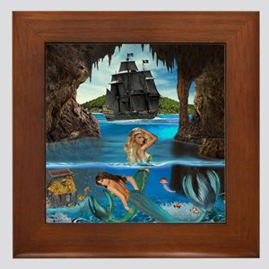 Mermaids of the Pirate Cave Framed Tile