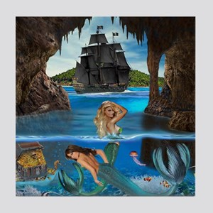 Mermaids of the Pirate Cave Tile Coaster