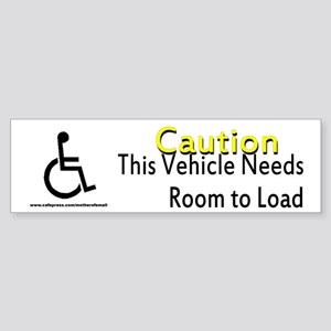 Caution Handicapped Sticker (Bumper)