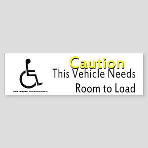 Caution Handicapped Sticker (Bumper)