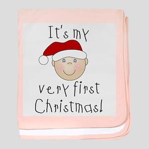 1st Christmas (white) baby blanket