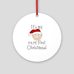 1st Christmas (white) Ornament (Round)