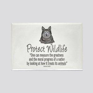 Protect Wolves Rectangle Magnet