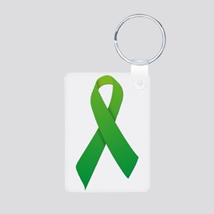 Green Ribbon Aluminum Photo Keychain