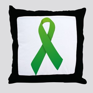 Green Ribbon Throw Pillow
