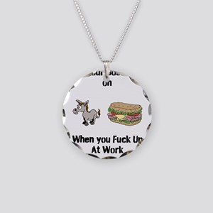 Ass Sandwich Necklace Circle Charm
