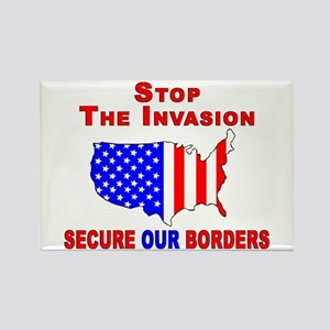 STOP The Invasion Rectangle Magnet