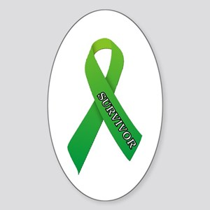Green Ribbon 'Survivor' Sticker (Oval)