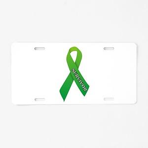 Green Ribbon 'Survivor' Aluminum License Plate