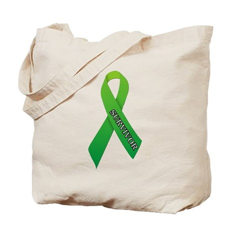 Green Ribbon 'Survivor' Tote Bag