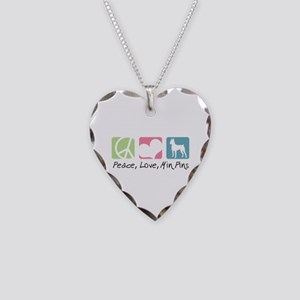 Peace, Love, Min Pins Necklace Heart Charm