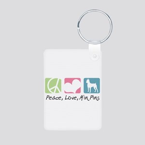 Peace, Love, Min Pins Aluminum Photo Keychain