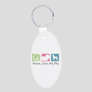 Peace, Love, Min Pins Aluminum Oval Keychain